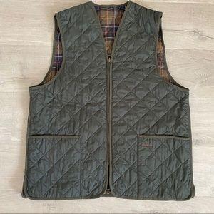 Classic Barbour Green Quilted Zipper Vest XL Plaid